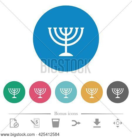 Menorah Flat White Icons On Round Color Backgrounds. 6 Bonus Icons Included.