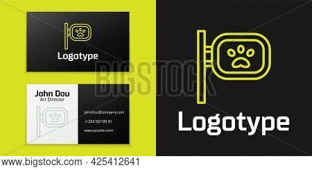 Logotype Line Pet Grooming Icon Isolated On Black Background. Pet Hair Salon. Barber Shop For Dogs A