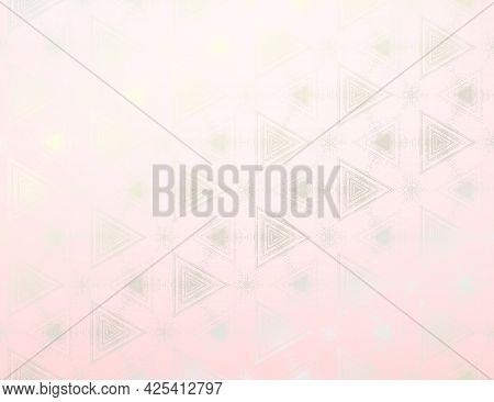 Abstract Silver And Light Pink Textured Pattern With Kaleidoscope Effect. Symmetric Geometric Orname