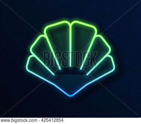 Glowing Neon Line Scallop Sea Shell Icon Isolated On Blue Background. Seashell Sign. Vector