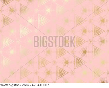 Abstract Gold And Pink Textured Pattern With Kaleidoscope Effect. Symmetric Geometric Ornament For D