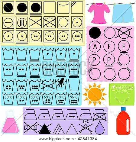 Vector Laundry Icons : Symbols for clothes washing