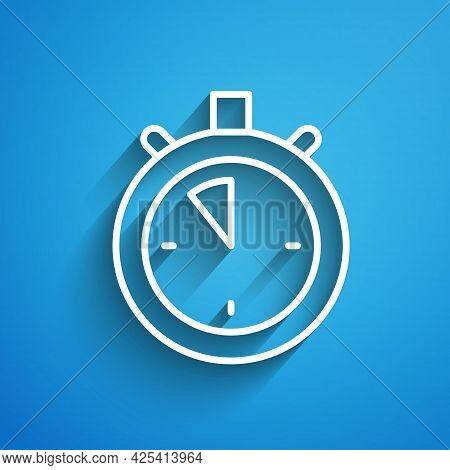 White Line Stopwatch Icon Isolated On Blue Background. Time Timer Sign. Chronometer Sign. Long Shado