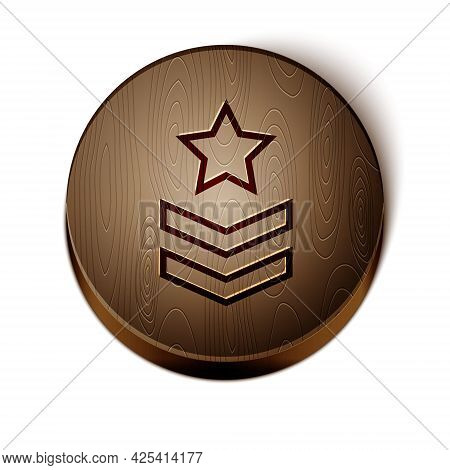 Brown Line Military Rank Icon Isolated On White Background. Military Badge Sign. Wooden Circle Butto