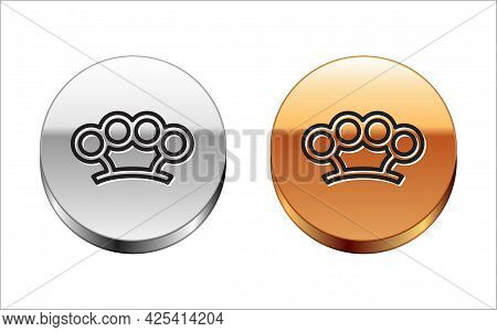 Black Line Brass Knuckles Icon Isolated On White Background. Silver-gold Circle Button. Vector