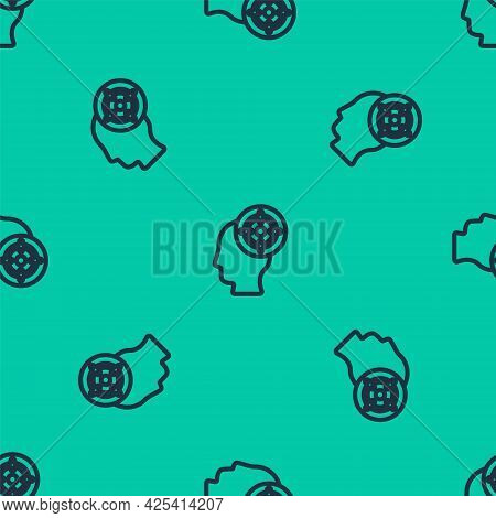 Blue Line Target Sport Icon Isolated Seamless Pattern On Green Background. Clean Target With Numbers