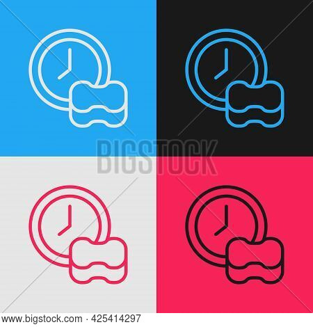Pop Art Line Washing Dishes Icon Isolated On Color Background. Cleaning Dishes Icon. Dishwasher Sign