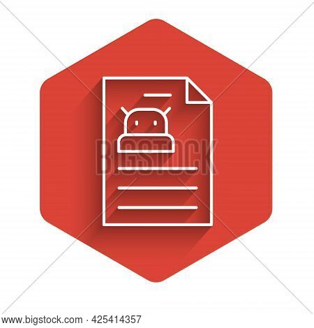White Line Technical Specification Icon Isolated With Long Shadow. Technical Support Check List, Tea