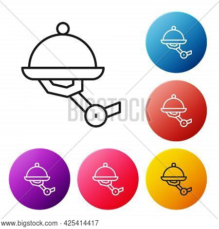 Black Line Waiter Robot With Covered Plate Icon Isolated On White Background. Artificial Intelligenc