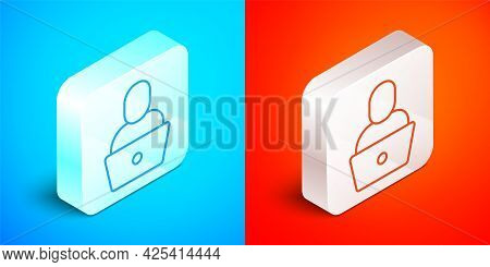 Isometric Line Freelancer Icon Isolated On Blue And Red Background. Freelancer Man Working On Laptop