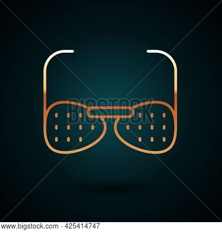Gold Line Glasses For The Blind And Visually Impaired Icon Isolated On Dark Blue Background. Vector