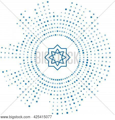 Blue Line Islamic Octagonal Star Ornament Icon Isolated On White Background. Abstract Circle Random