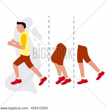People Running Motion Jogging Marathon Concept. Sport And Fitness Design Template With Runners And A
