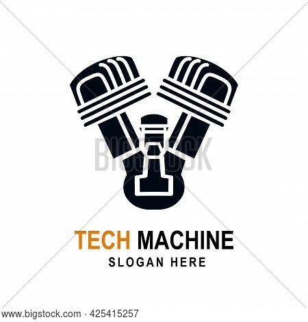 Auto Service Logo Icon Template Vector Illustration. Motorcycle Engine Service Logo Silhouette Desig