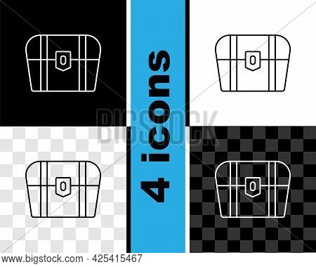 Set Line Antique Treasure Chest Icon Isolated On Black And White, Transparent Background. Vintage Wo