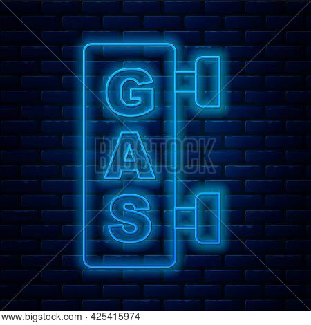 Glowing Neon Line Gas Filling Station Icon Isolated On Brick Wall Background. Transport Related Serv