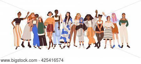 Group Of Happy Diverse Women With Different Skin Color, Figure Types, Height And Race. Concept Of Bo