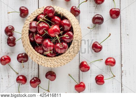 Summer Layout With Red Cherries On White Wooden Table, Fresh Fruits And Berries Concept, Summer Dess
