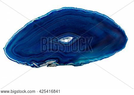 Macro Mineral Stone Agate On A White Background Close Up