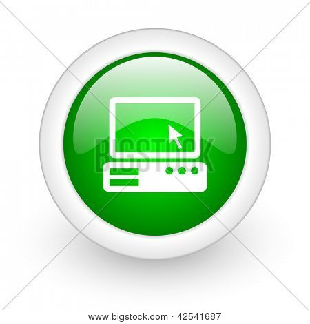 pc green circle glossy web icon on white background