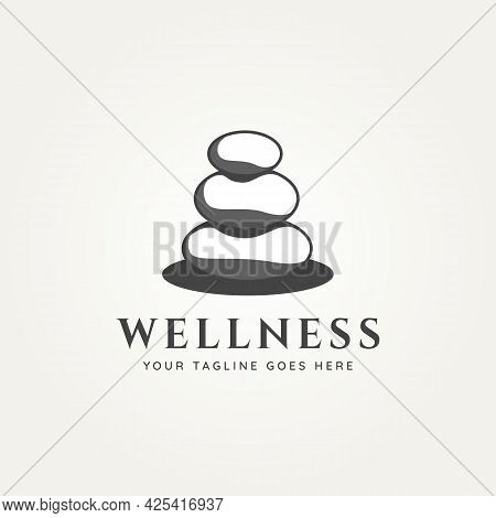 Wellness Stone Logo Vector Illustration Design. Spa, Health, And Beauty Logo Concept