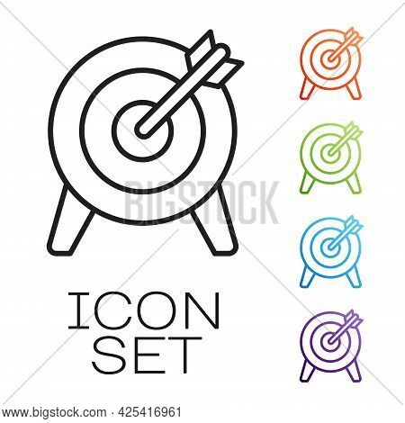 Black Line Target Financial Goal Concept Icon Isolated On White Background. Symbolic Goals Achieveme