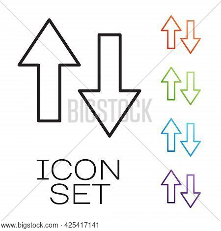 Black Line Arrow Icon Isolated On White Background. Direction Arrowhead Symbol. Navigation Pointer S