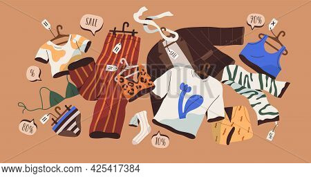 Concept Of Summer Clothes Discounts. Season Big Sale Of Women Fashion Garments. Special Off-price Of