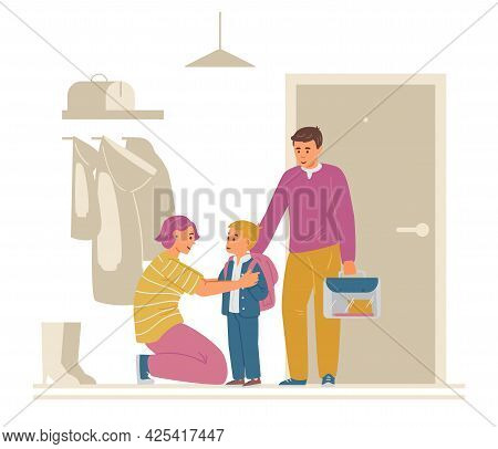 Firstgrader Going To School. Mother Saying Goodbuy In Hallway. Vector Illustration.