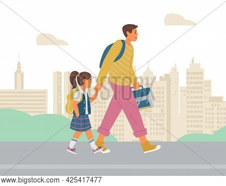 Father And Daughter Walking To School. City Background. Vector Illustration.