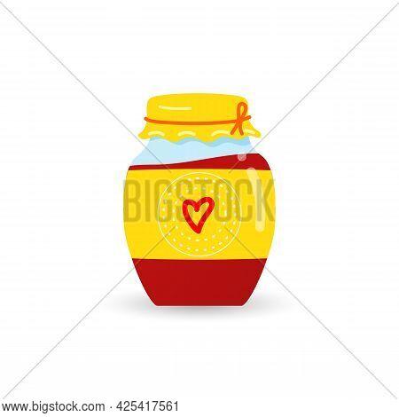 Glass Jar With Homemade Strawberry Jam. A Jar Red Cherry, Or Raspberry Jam
