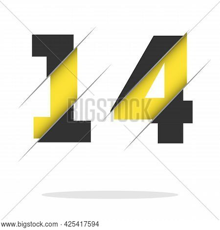 14 1 4 Number Logo Design With A Creative Cut And Black Circle Background. Creative Logo Design.