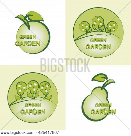 Apple, Pear. Green Garden. Set. Can Be Used As Emblem, Label, Web Print, Sticker, Business Project.