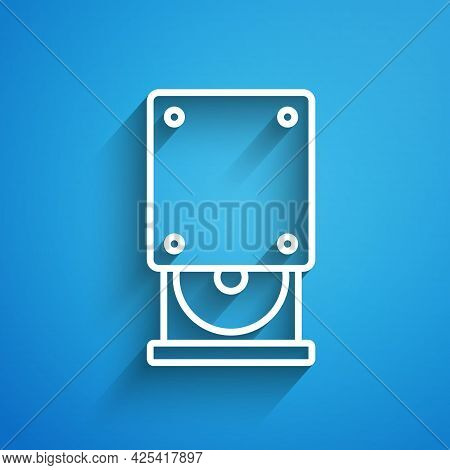 White Line Optical Disc Drive Icon Isolated On Blue Background. Cd Dvd Laptop Tray Drive For Read An
