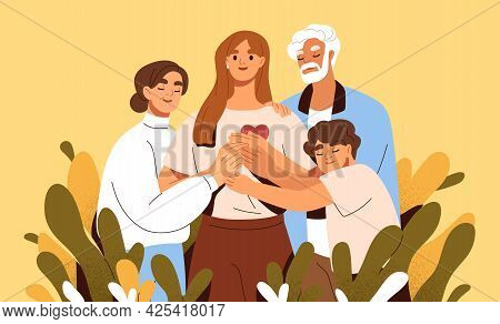 Concept Of Family Support And Care. Love And Trust Between Woman And Her Parents. Happy Mother, Fath