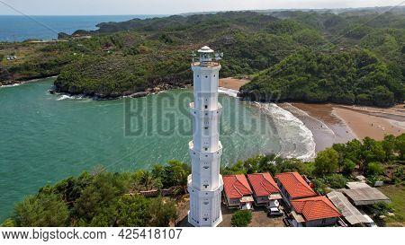 Aerial View Of The Lighthouse At Baron Beach, Gunung Kidul, Yogyakarta, Mercusuar Pantai Baron. Cent