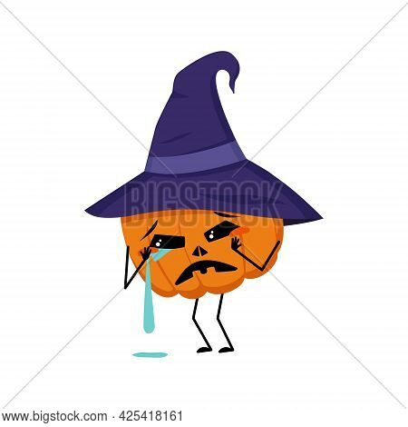 Cute Pumpkin Character With Crying And Tears Emotions, Face, Arms And Legs. The Funny Or Sad Vegetab