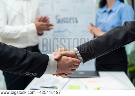 Close Up Hands Of Business People Handshake After Success Negotiations. Employee Worker Team Clap Ha