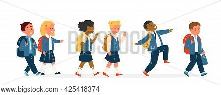 Group Of Smiling Kids Different Race In School Uniform With Backpacks Walking. Primary School Pupils