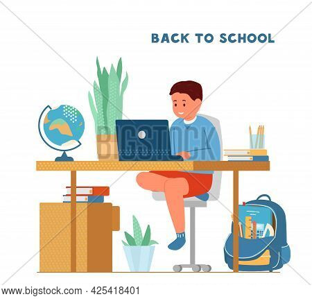 Back To School During Pandemic Concept. Smiling Boy Sitting At Desk In Front Of Laptop Studying. Sch