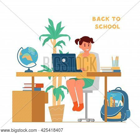 Back To School Concept. Smiling Girl Sitting At Desk In Front Of Laptop Studying. School Backpack Wi
