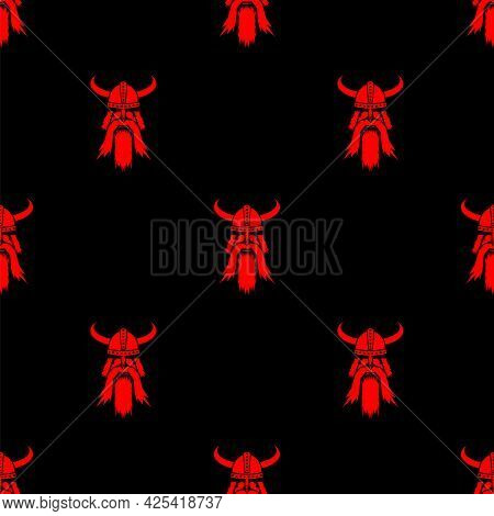 Viking Red Silhouettes Seamless Pattern Isolated On Black Background