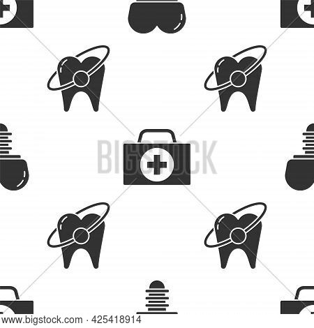 Set Dental Implant, First Aid Kit And Tooth Whitening Concept On Seamless Pattern. Vector