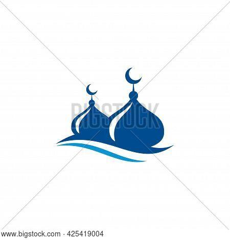 Dome Mosque Icon Silhouette Logo Vector Illustration Design Template