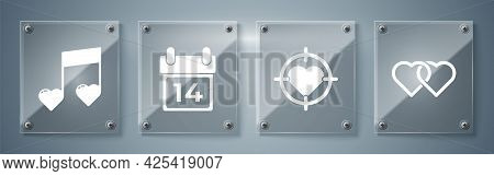 Set Two Linked Hearts, Heart In The Center Of Darts Target Aim, Calendar With February 14 And Music