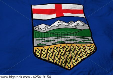 Full Frame Close-up On A Waving Flag Of Alberta (canada) In 3d Rendering.