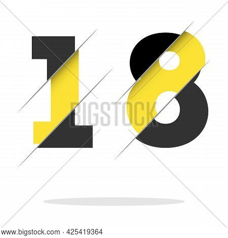 18 1 8 Number Logo Design With A Creative Cut And Black Circle Background. Creative Logo Design.