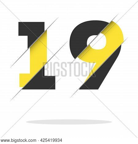 19 1 9 Number Logo Design With A Creative Cut And Black Circle Background. Creative Logo Design.