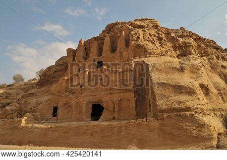 Petra, Jordan - 11.29.2009: Remains Of Ancient Petra City. Temple Ruins.