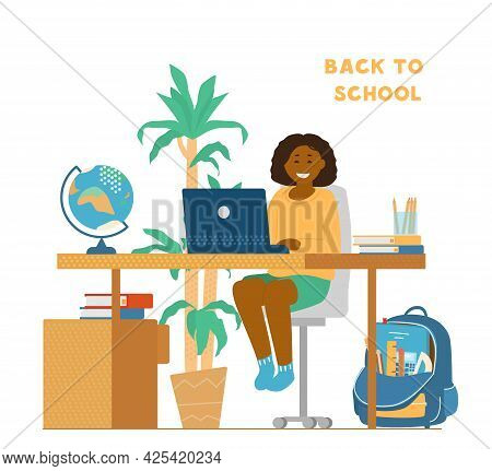 Back To School During Coronavirus Pandemic Concept. Smiling Afro American Girl Sitting At Desk In Fr